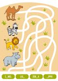 Maze game for children. Camel, Zebra, Lion and Hippo. Maze game for children. Find the way from the picture to its title and fill the missing letters. Camel Stock Photo