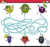 Maze game for children. Cartoon Illustration of Educational Paths or Maze Puzzle Task for Preschool Children with Fruits Royalty Free Stock Photo