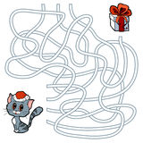 Maze game for children: cat and Christmas gift Royalty Free Stock Photography
