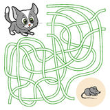 Maze game for children (cat) Royalty Free Stock Images