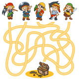 Maze game for children (characters of pirates) Stock Image