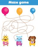 Maze game for children. Connect animals with balloons. Fun activity for pre school kids and toddlers