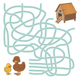 Maze game. Game for children: Maze game (ducks and home Royalty Free Stock Photo