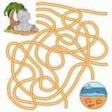 Maze game for children (elephant) Royalty Free Stock Photo