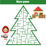 Maze game for children: fairytales theme. Help Red Riding Hood find way to house. Maze children game: help the Red Riding Hood go through the forest labyrinth Stock Photo