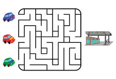 Maze. Game for children. Find the way for car to gas station. Only one is correct. Vector illustration Royalty Free Stock Photography
