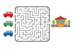 Maze. Game for children. Find the way for car to your home. Only one is correct. Vector illustration Stock Images