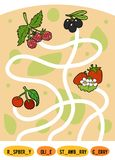 Maze game for children. Set of berries. Maze game for children. Find the way from the picture to its title and add the missing letters. Set of berries Stock Image