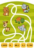 Maze game for children. Set of domestic animals. Maze game for children. Find the way from the picture to its title and add the missing letters. Set of domestic Stock Photography