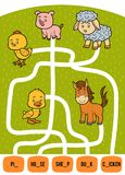 Maze game for children. Set of farm animals. Maze game for children. Find the way from the picture to its title and add the missing letters. Set of farm animals Royalty Free Stock Photography