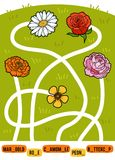 Maze game for children. Set of flowers. Maze game for children. Find the way from the picture to its title and add the missing letters. Set of flowers Stock Images