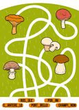 Maze game for children. Set of mushrooms. Maze game for children. Find the way from the picture to its title and add the missing letters. Set of mushrooms Stock Photo