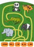 Maze game for children. Set of tropical animals. Maze game for children. Find the way from the picture to its title and add the missing letters. Set of tropical Royalty Free Stock Image