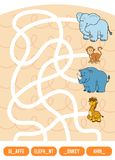 Maze game for children. Giraffe, Elephant, Monkey and Rhino. Maze game for children. Find the way from the picture to its title and fill the missing letters Stock Photography