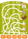 Maze game for children. Goat, Cow, Chicken, Turkey and Sheep. Maze game for children. Find the way from the picture to its title and fill the missing letters Stock Images