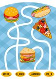 Maze game for children. Set of food. Maze game for children. Find the way from the picture to its title and fill the missing letters. Set of food. Pizza, Hot dog Royalty Free Stock Photos
