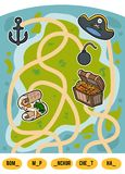 Maze game for children, set of pirate items. Maze game for children. Find the way from the picture to its title and fill the missing letters. Set of pirate items Stock Photos