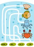 Maze game for children. Set of sea animals. Maze game for children. Find the way from the picture to its title and fill the missing letters. Set of sea animals Royalty Free Stock Photos