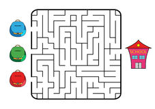 Maze. Game for children. Find the way for school bag to school. Only one way is correct. Vector illustration Stock Photo