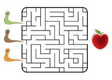 Maze. Game for children. Find the way for worm to sweet cherry. Only one way is correct. Vector illustration Stock Photos