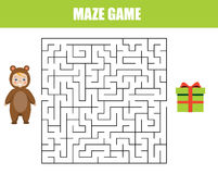 Maze game for children. Help kid find gift box. Maze children game: help the kid go through the labyrinth and find gift box Royalty Free Stock Images