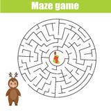 Maze game for children. Help kid find gift box. Maze children game: help the kid go through the labyrinth and find gift box. Christmas theme Royalty Free Stock Images