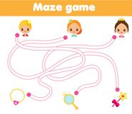 Maze game for children. Help princess find way to objects. Labyrinth for girls Stock Photo