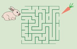 Maze game for children. Help the rabbit to get the carrot. Maze game for children. Help the rabbit to get the carrot Royalty Free Stock Photo