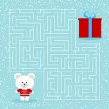 Maze game for the children with a labyrinth cartoon christmas polar bear and gift vector illustration