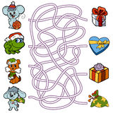 Maze game for children: little animals and Christmas gifts Stock Photography
