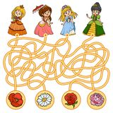 Maze game for children. Little princess and flowers. Maze game, education game for children. Little princess and flowers Stock Photo