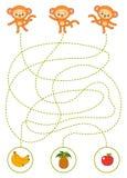 Maze game for children, monkeys and fruits royalty free illustration