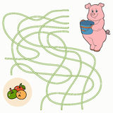 Maze game for children (pig) Royalty Free Stock Images