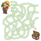 Maze game for children (pirate boy and parrot). Maze game, education game for children (pirate boy and parrot Stock Image