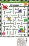 Maze game with cat and yarn balls. Maze game for children with playful red cat: Help the cat find at least one yarn clew to play with. Answer included royalty free illustration