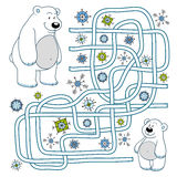 Maze game for children (polar bears) Royalty Free Stock Photography