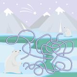 Maze game for children with polar bears. Vector image Royalty Free Stock Photography