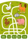 Maze game for children. Rabbit, Duck, Pig, Goose and Horse. Maze game for children. Find the way from the picture to its title and fill the missing letters Stock Image