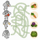 Maze game for children (rabbits). Maze game for children (rabbits and food Stock Images