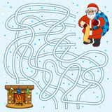 Maze game for children: Santa Claus and fireplace Stock Image