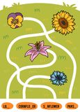 Maze game for children. Set of flowers. Maze game for children. Find the way from the picture to its title and add the missing letters. Set of flowers Stock Photography