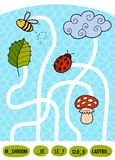 Maze game for children. Set of natural objects. Maze game for children. Find the way from the picture to its title and fill the missing letters. Set of natural Royalty Free Stock Photo