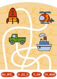 Maze game for children. Set of transport objects. Maze game for children. Find the way from the picture to its title and add the missing letters. Set of Royalty Free Stock Images