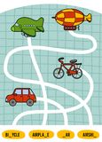 Maze game for children. Set of transport objects. Maze game for children. Find the way from the picture to its title and add the missing letters. Set of Stock Image