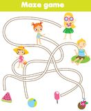 Maze game for children. Summer holidays theme. Help kids find lost objects. Labyrinth for toddlers vector illustration