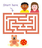 Maze game: children & toys. Help the children find the way to the toys Stock Photo