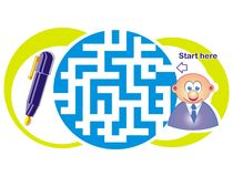 Maze game: clerk and pen. Maze game for kids: Help the clerk find the way to the pen Vector Illustration