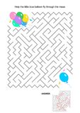 Maze game with colorful balloons Royalty Free Stock Image