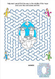 Maze game and coloring page - anemones and fish royalty free illustration