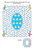 Maze game and coloring page - pencils and fish Stock Photos